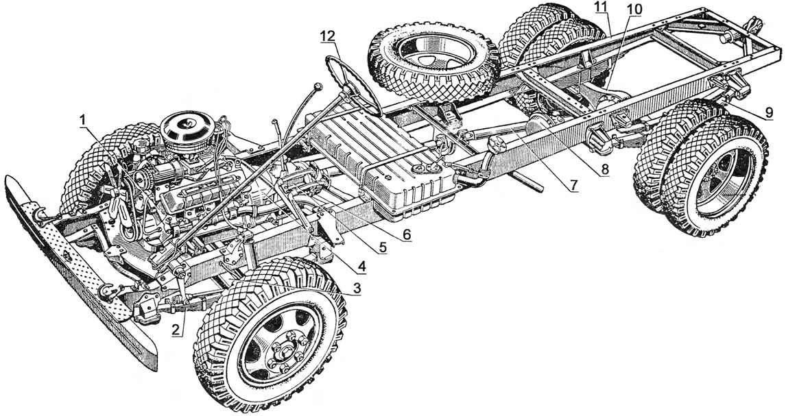 The chassis of the car GAZ-53A