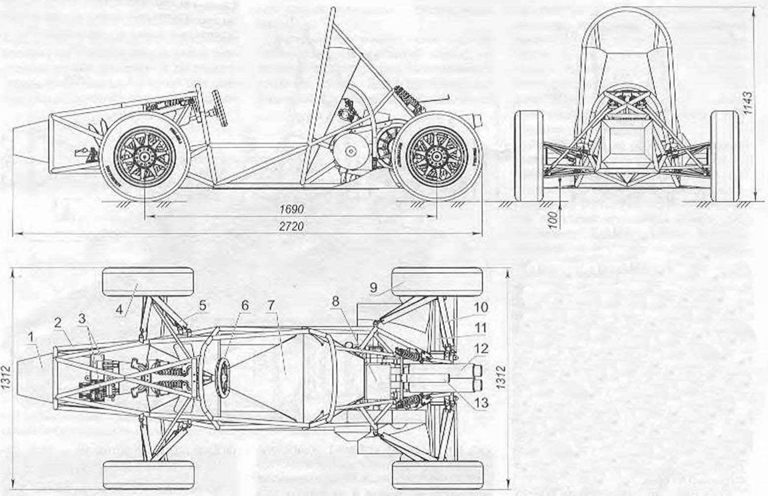 Компоновка гоночного автомобиля «Адреналин»