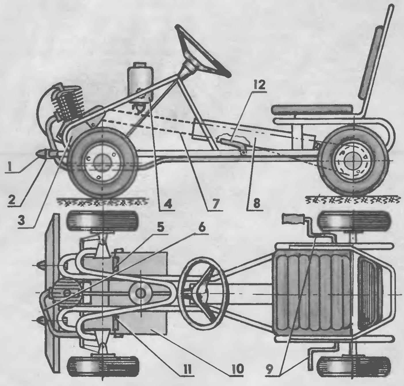 Детский автомобиль с двигателем Д-6 на базе педальной машины типа «Карт», «Лидер» или «Соболек»