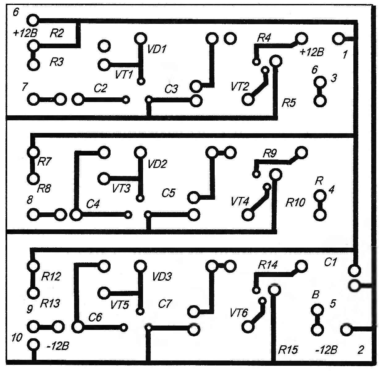 Рис. 2. Топология печатной платы цветоприставки (размерами 55x55 мм)