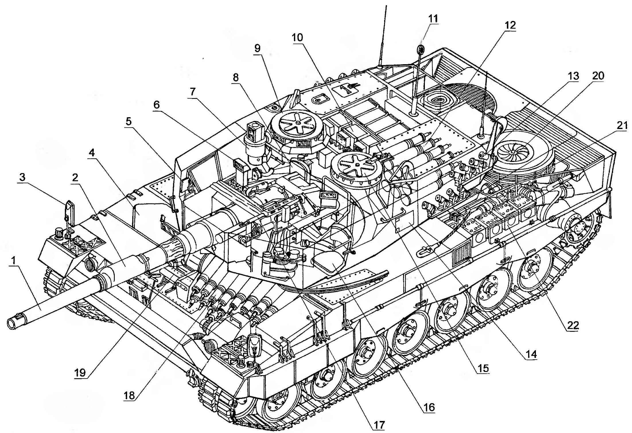 Компоновочная схема танка «Леопард» 21-й производственной серии