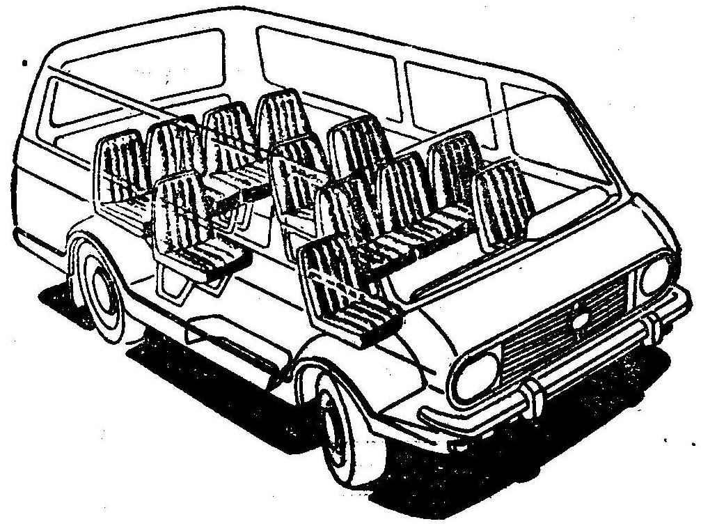 Рис. 3. Планировка автобуса (туристский вариант)
