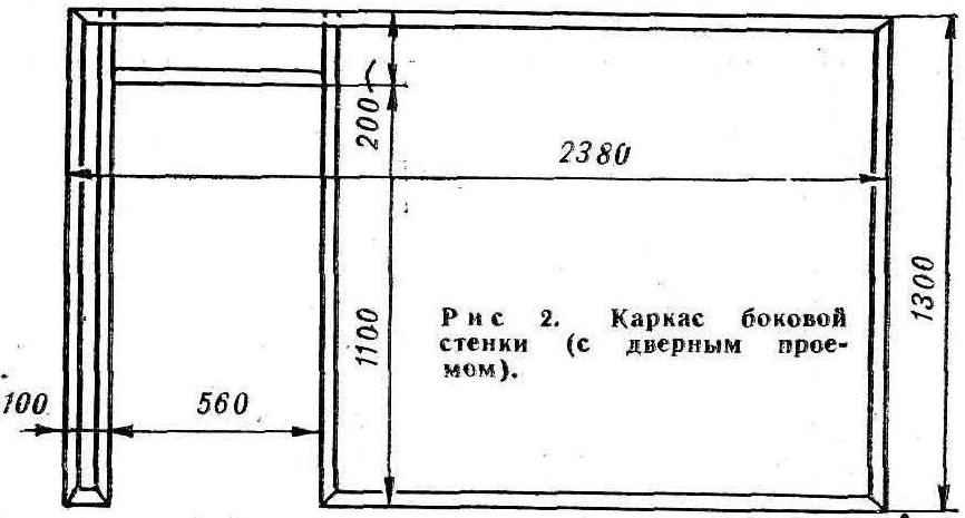 Рис.2 Каркас боковой стенки (с дверным проемом)