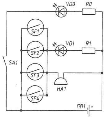 Рис. 4. Индикатор магнитного поля на четырёх герконах