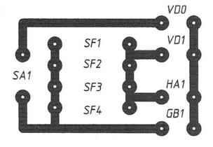 Рис. 6. Печатная плата для индикатора на четырёх герконах без резисторов