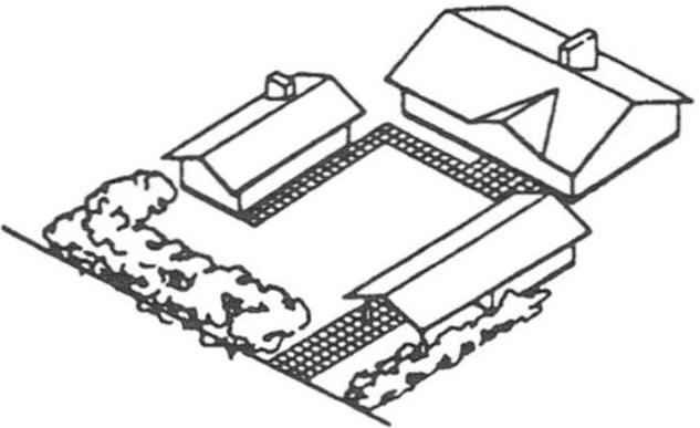 Рис. 7. Защитные функции насаждений можно расширить за счёт рационального размещения их по отношению к постройкам