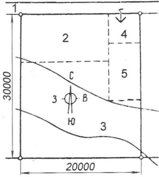 Fig. 3. Example neighborhood areas on the land