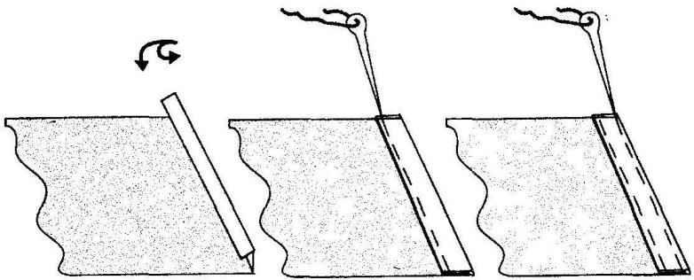 Схема подрубки задней кромки паруса на швейной машине