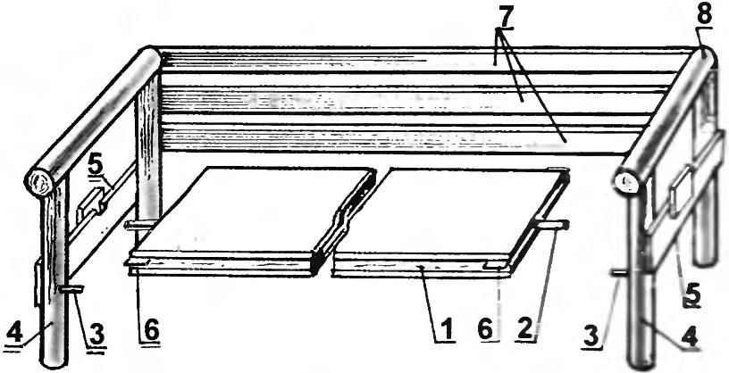 Вариант скамейки с деревянным основанием