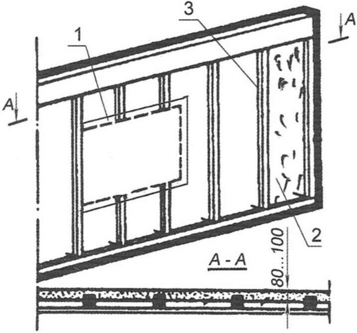 Рис. 4. Наружная стена с деревянным каркасом