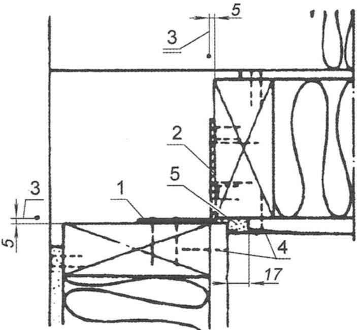 Рис. 8. Узел углового соединения наружных панелей при выполнении внутренних углов