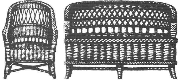Кресло и плетёный диван для отдыха - простое плетево с заделкой бортов косичкой и обвивкой несущих элементов конструкции лентой или стругом