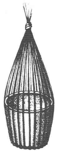 Вариант перехода к плетению боковины (сгибание стоек по шаблону и связывание их концов в пучок)
