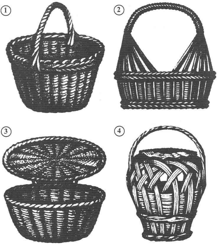 Варианты готовых корзин с круглым (овальным) дном
