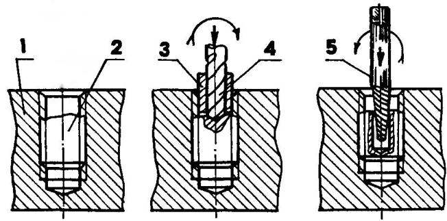 Обрыв метиза ниже поверхности детали и извлечение остатка метиза экстрактором