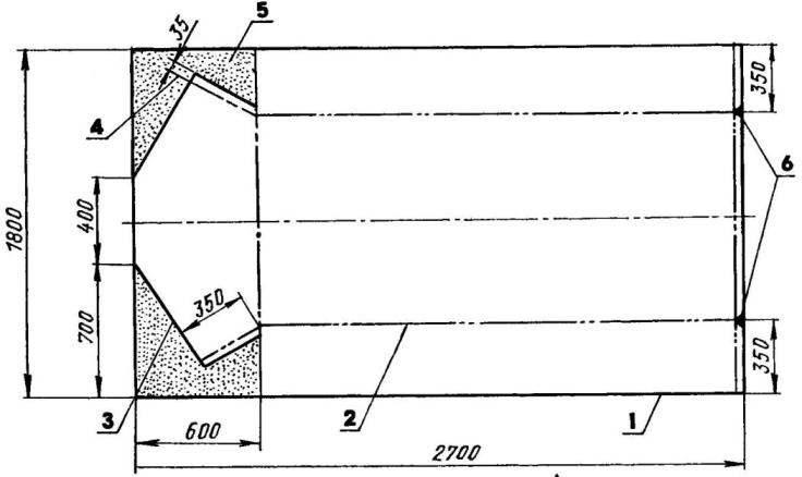Развертка обшивки (примерный раскрой дюралюминиевого листа s2) и выкройка заднего транца