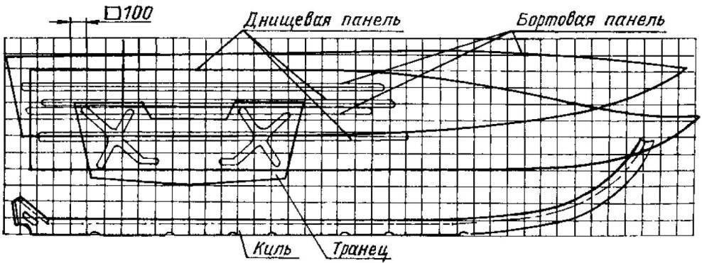 Раскрой основных элементов корпуса (материал —листовая сталь толщиной 1,5 мм)