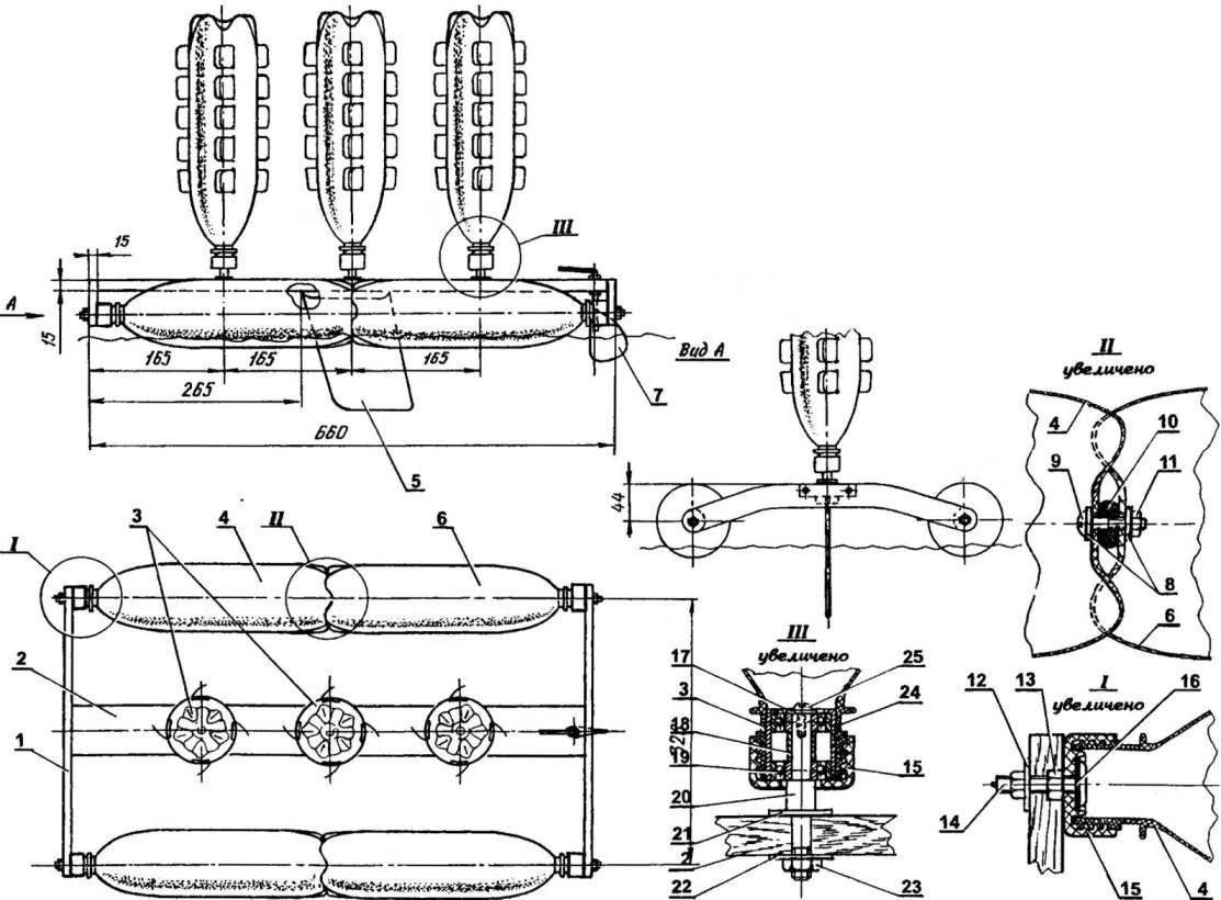 Модель катамарана с роторным ветродвижителем