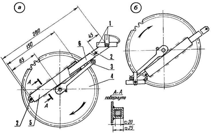Велосипед с телескопическими шатунами, выдвинутыми максимально (а) и минимально (б)