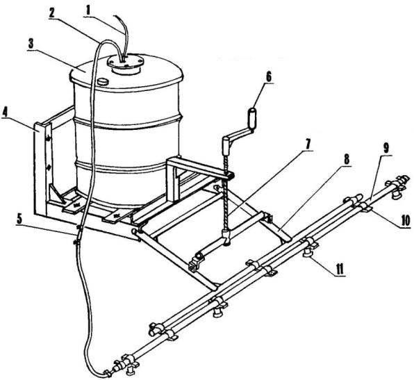 Sprayer for mechanical handling of potatoes