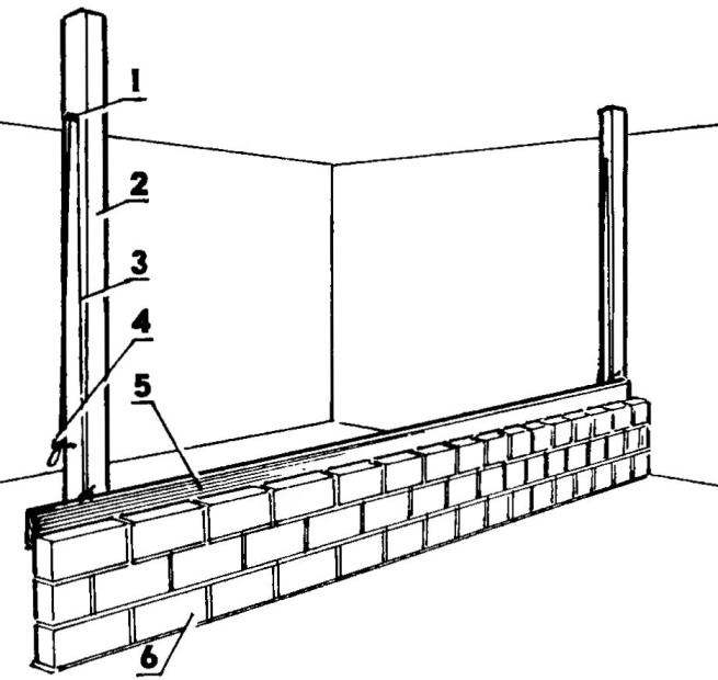 Masonry walls is a quarter of brick with the guide Board