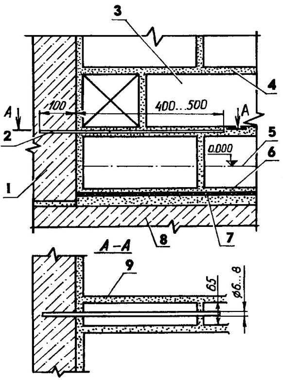 Крепление перегородки в четверть кирпича с бетонной стеной