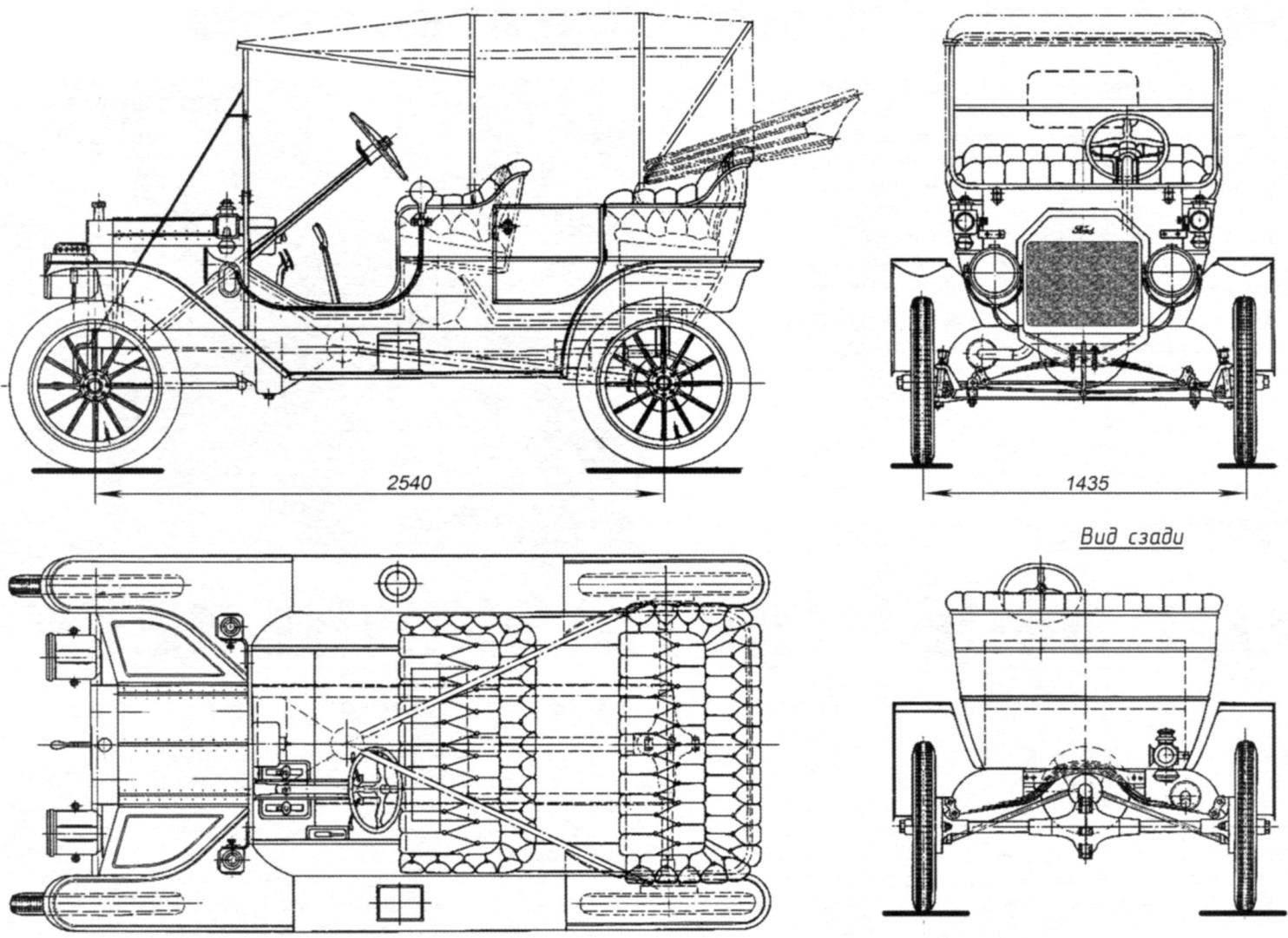 Общий вил автомобиля Ford-T выпуска 1908 года