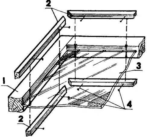Остекление переплетов без четвертей (штапиками с обеих сторон стекла)