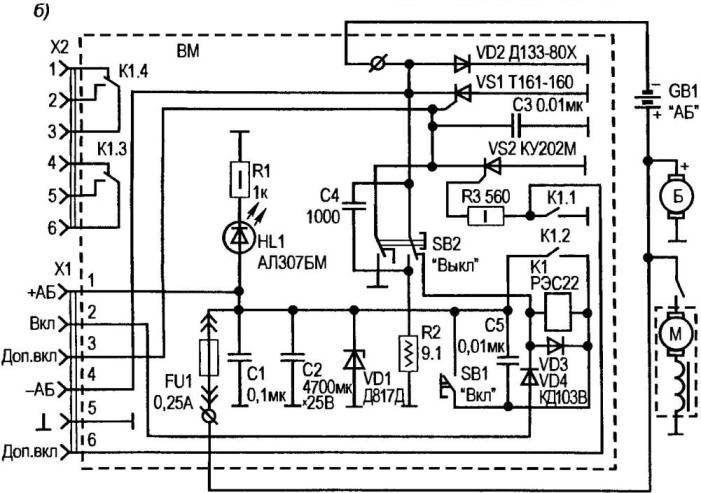 Рис. 1. Упрошенная (а) и полная (б) принципиальные электрические схемы электронного выключателя «массы»