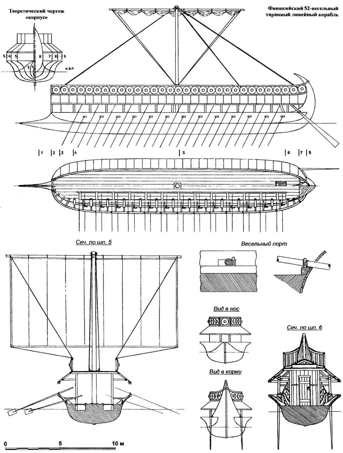 Финикийский 52-весельный таранный линейный корабль