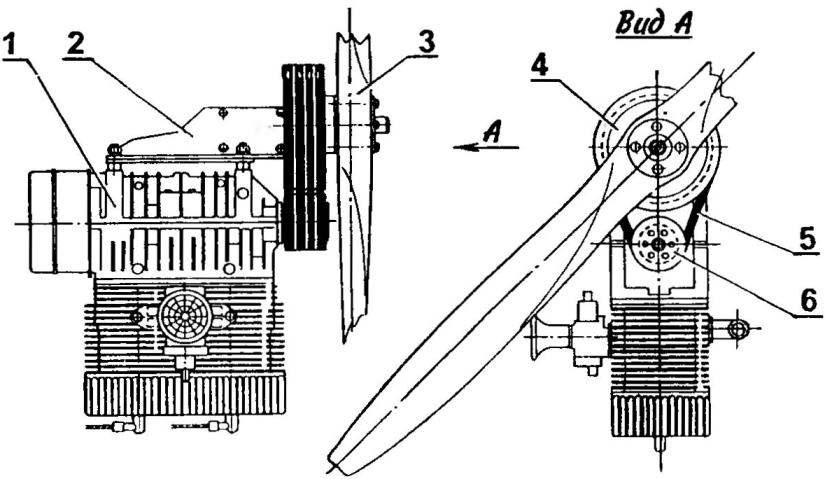 Винтомоторная установка с клиноременным редуктором