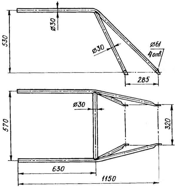 Рукоятки управления культиватором (сталь, труба 30x2)