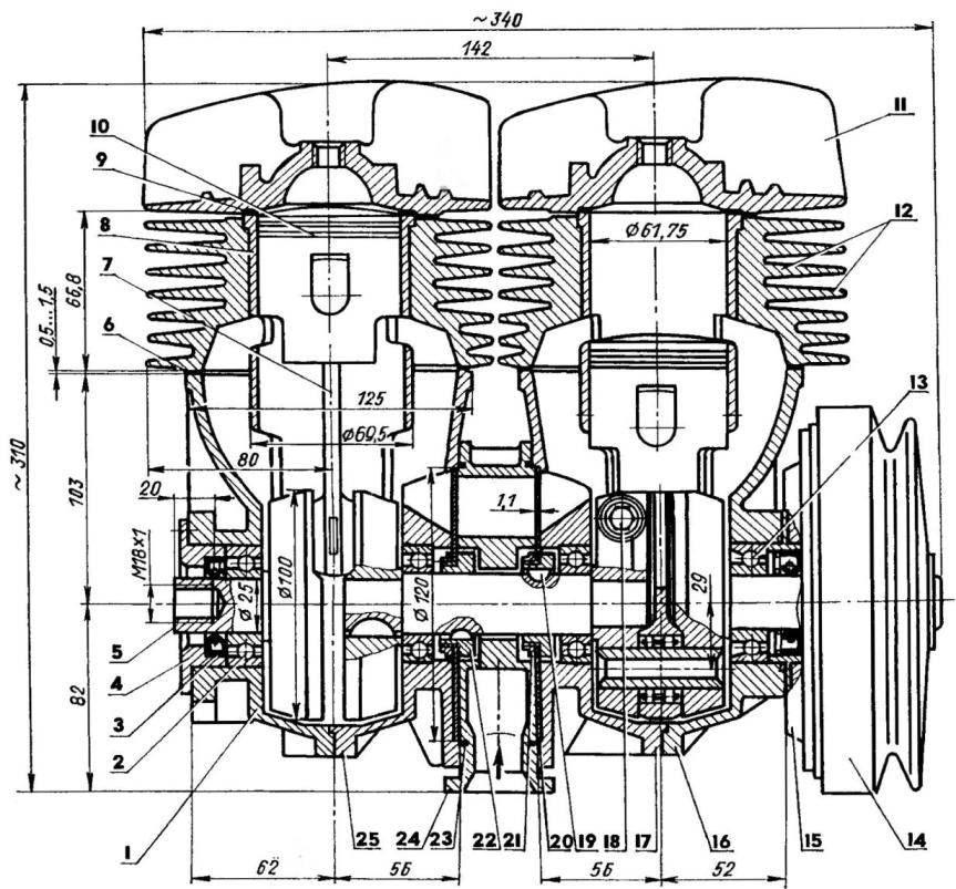 Продольный разрез модернизированного двигателя