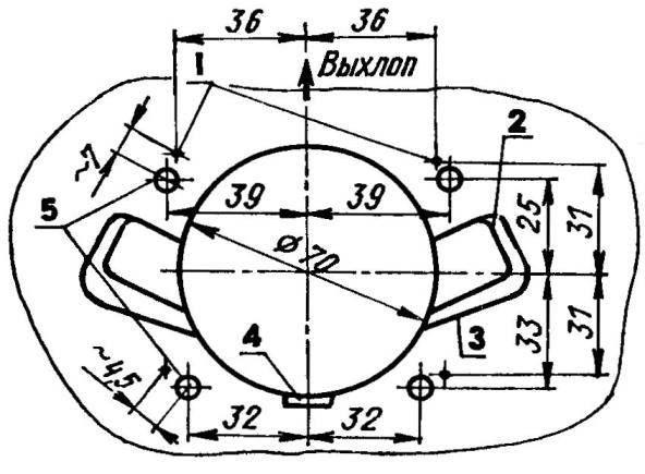 Установочные размеры для шпилек М8 на картере мотора «Привет-22» под цилиндры двигателя «Восход»