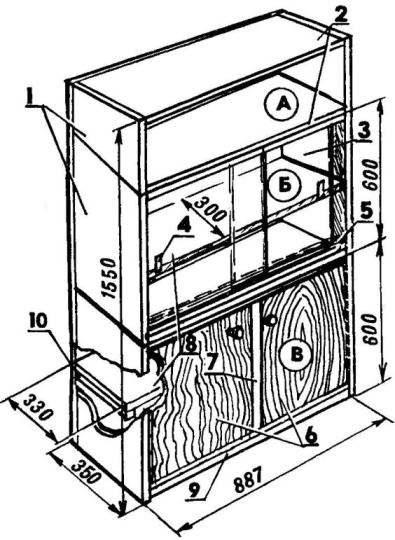 Трехсекционный шкаф