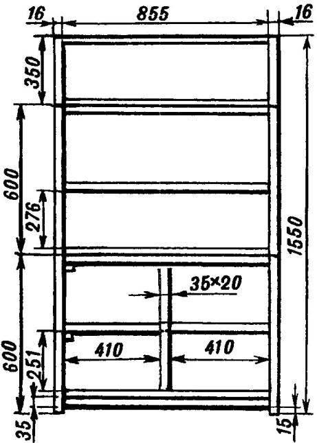 Каркас шкафа с основными размерами