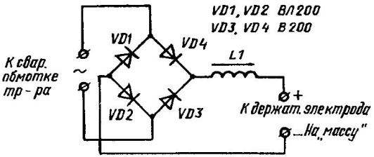 Схема выпрямительно-дроссельиого блока, а также возможные варианты сварочного дросселя на стержневом магиитопроводе (а) и на броневом (б), составлеииом из двух типовых стержневых сердечников