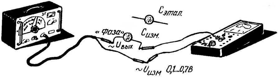 Точность при подборе конденсаторов одинаковой емкости гарантируется идентичностью соответствующих показаний авометра и звукового генератора