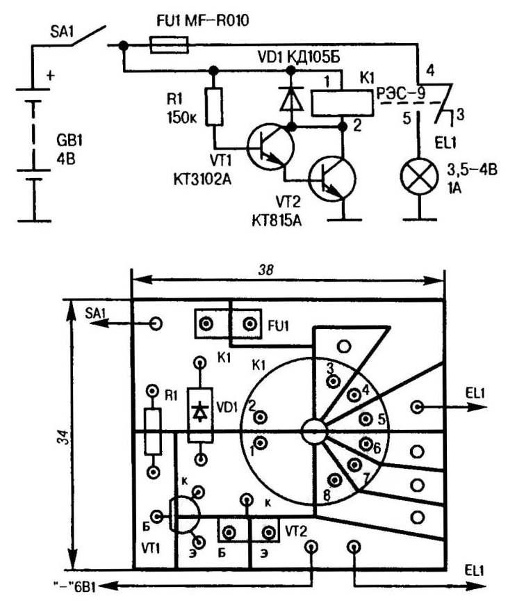 Принципиальная электрическая схема и псевдопечатная монтажная плата автомата для периодического включение электролампового табло или иной нагрузки