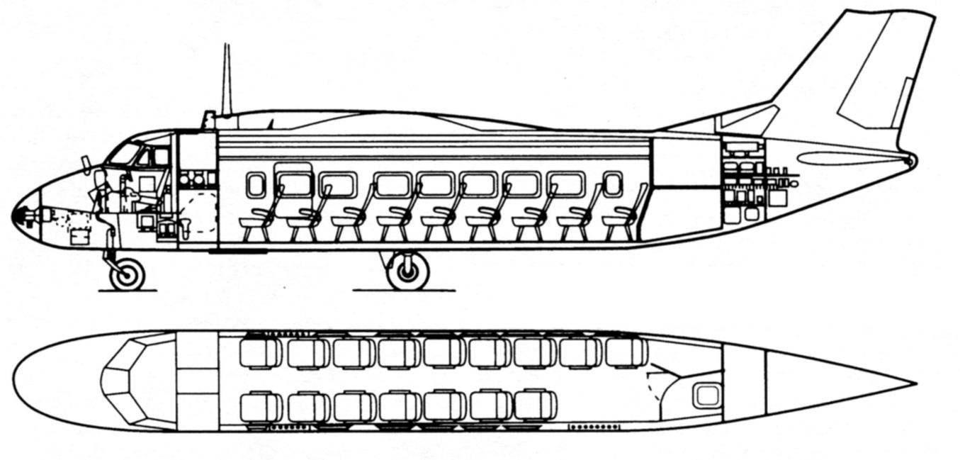Компоновка пассажирского варианта Бе-32