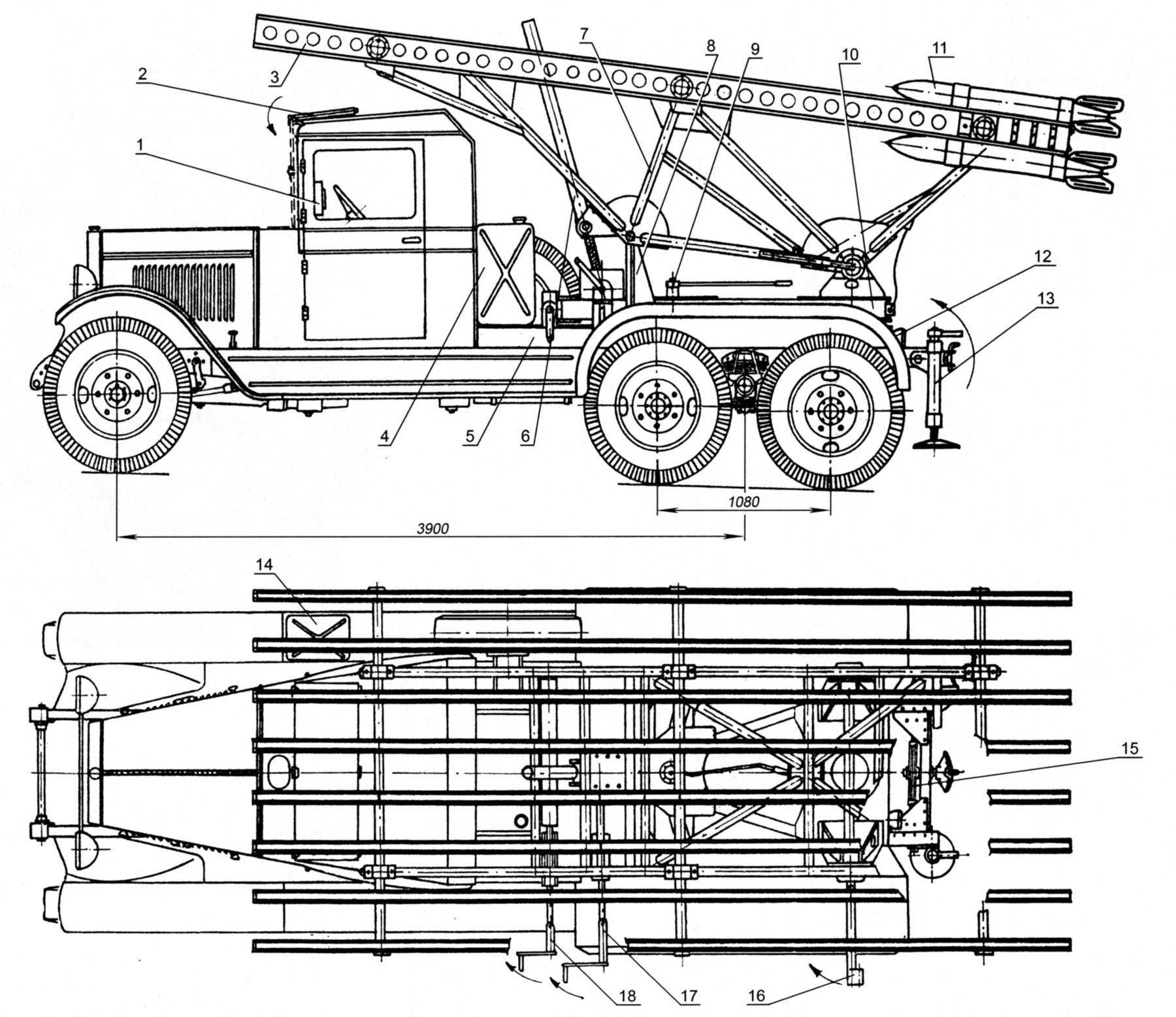 Установка БМ-13 на шасси ЗИС-6