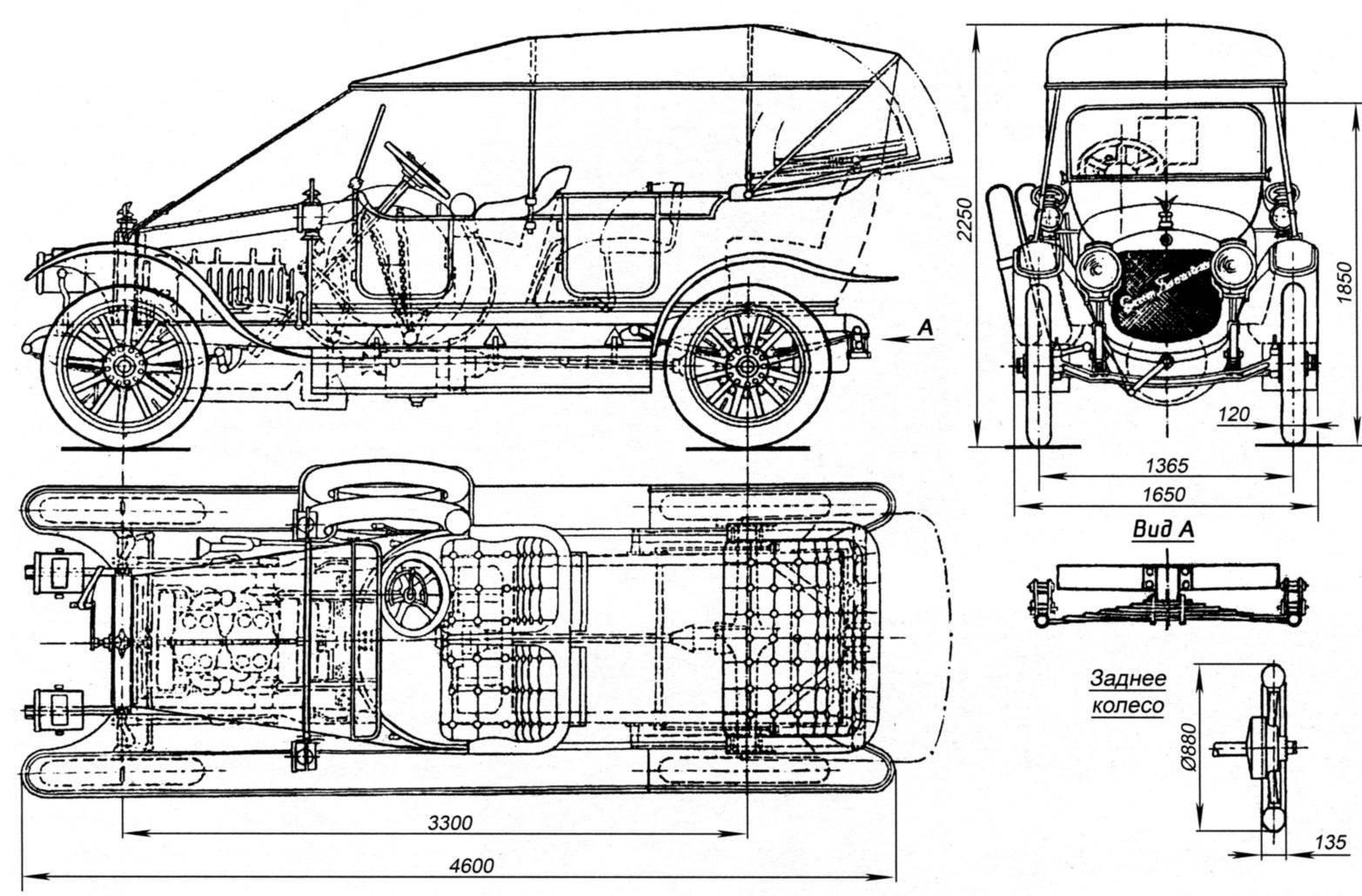 """Конструкция и основные размеры автомобиля """"Руссо-Балт"""" С24-40 с кузовом типа """"торпедо"""""""