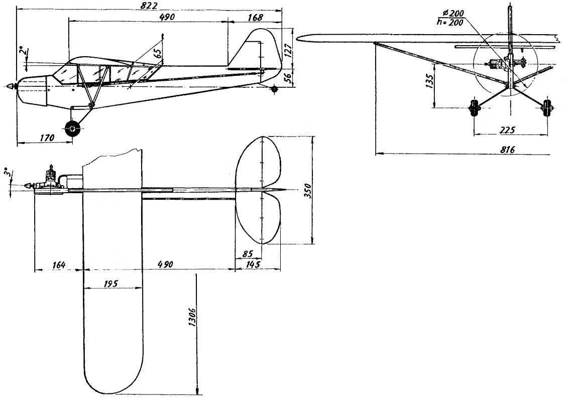 Геометрическая схема кордовой контурной модели-полукопии самолета PIPER CAB