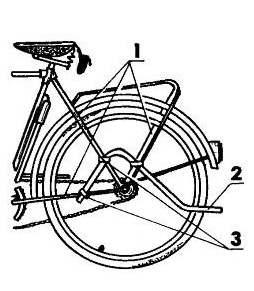 Вариант крепления дуги-тяги к раме велосипеда