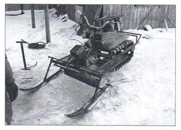 The snowmobile is under construction, and intermediate tests
