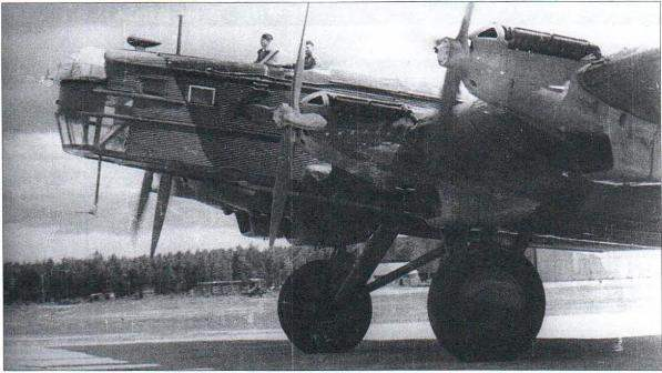 TB-ZRN with engines AM-34RN and antenna radiolucency placed in the fairing above the cockpit of the Navigator