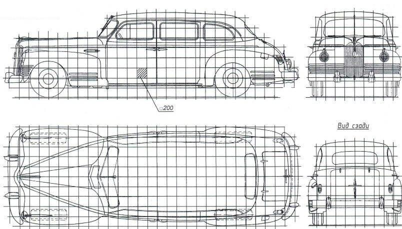 Геометрическая схема автомобиля ЗиС-110
