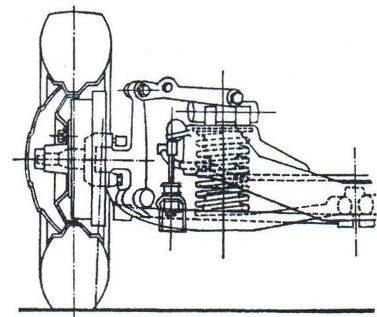 Передняя подвеска автомобили ЗиС-110 (вид спереди на правое колесо)