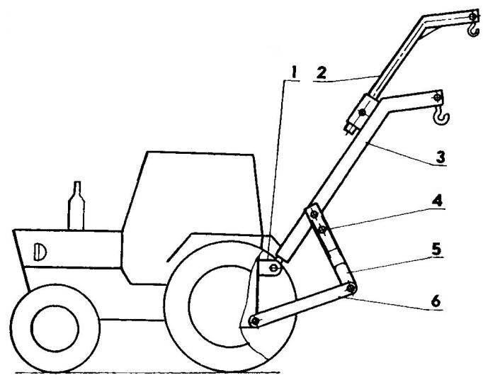 Схема размещения подъемника на тракторе МТЗ-80