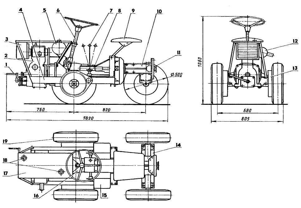 Универсальный мини-трактор (на виде сбоку левые колеса условно не показаны)